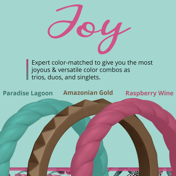 Joy Stackable 3-Pack Breathable Silicone Rings For Women