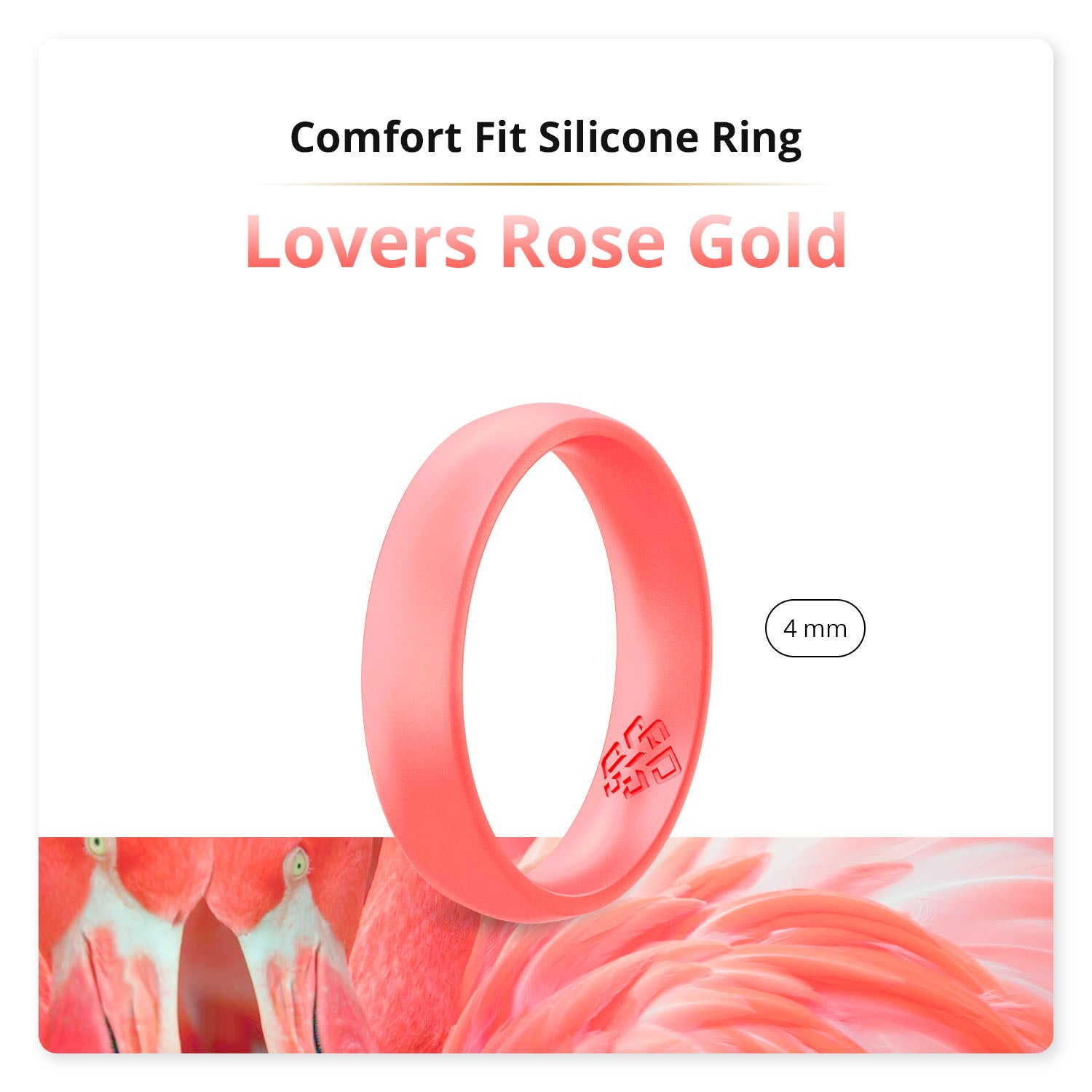 Lovers Rose Gold Domed Comfort Fit Silicone Ring Woman