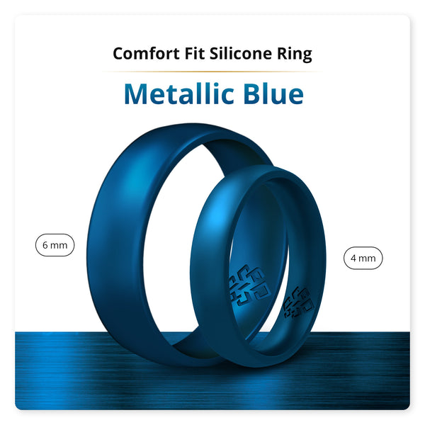 Metallic Blue Domed Comfort Fit Silicone Ring Man Woman