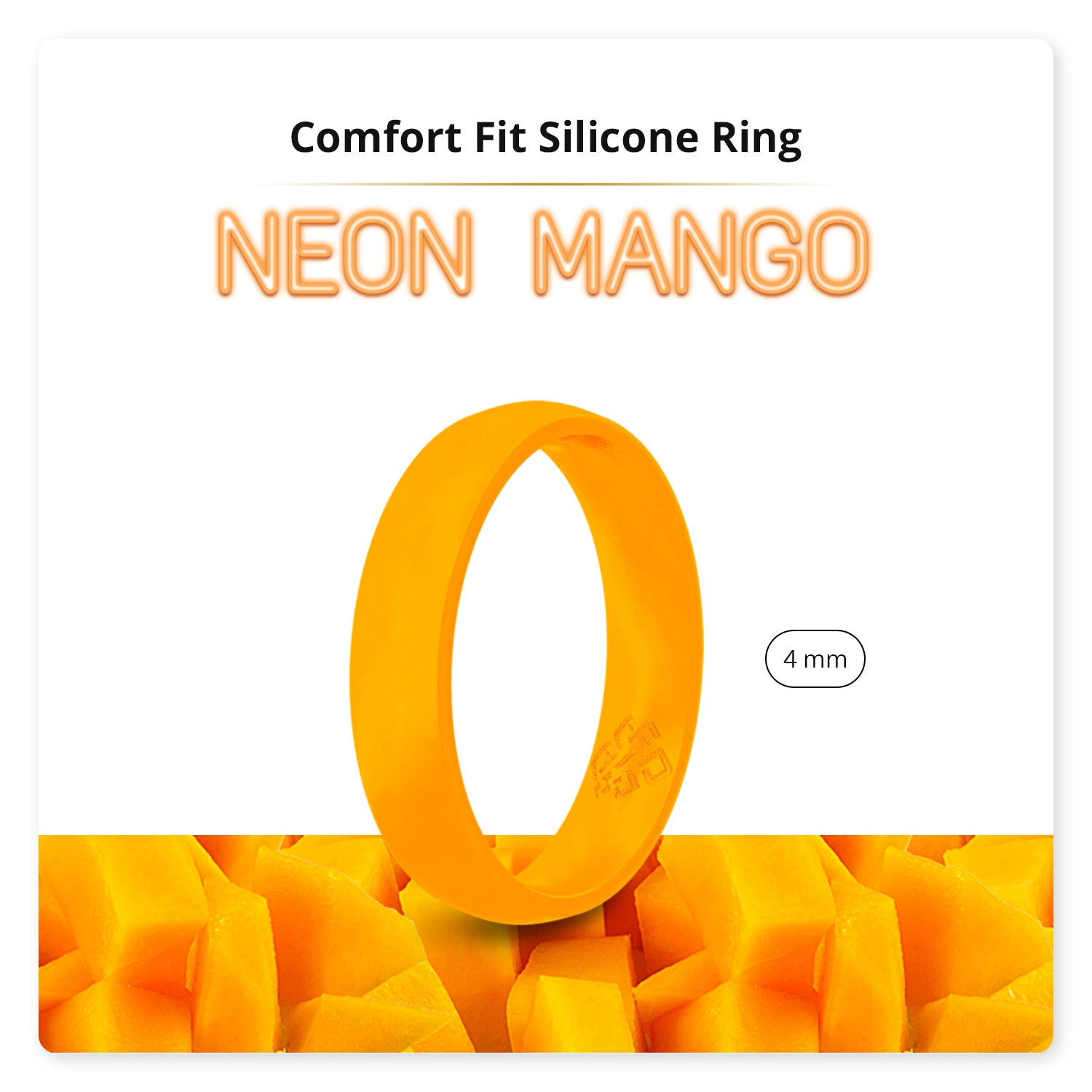 Neon Orange Comfort Fit Silicone Ring for Women