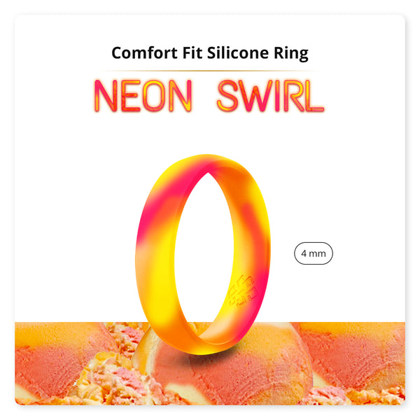 Neon Orange Yellow Pink Swirl Breathable Silicone Ring