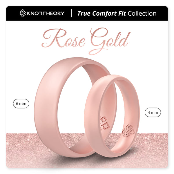Rose Gold Domed Comfort Fit Silicone Ring Woman