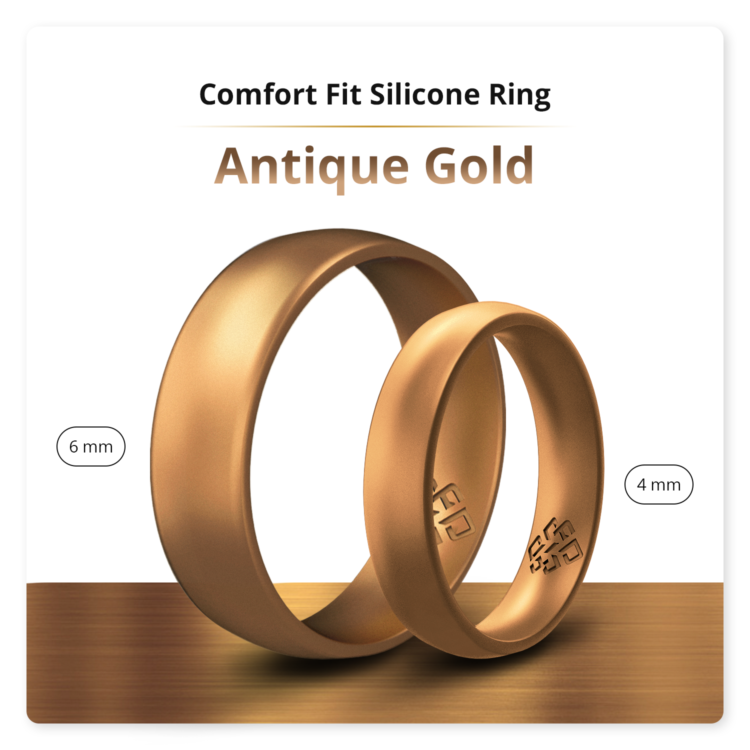 Antique Gold Breathable Silicone Ring For Men and Women