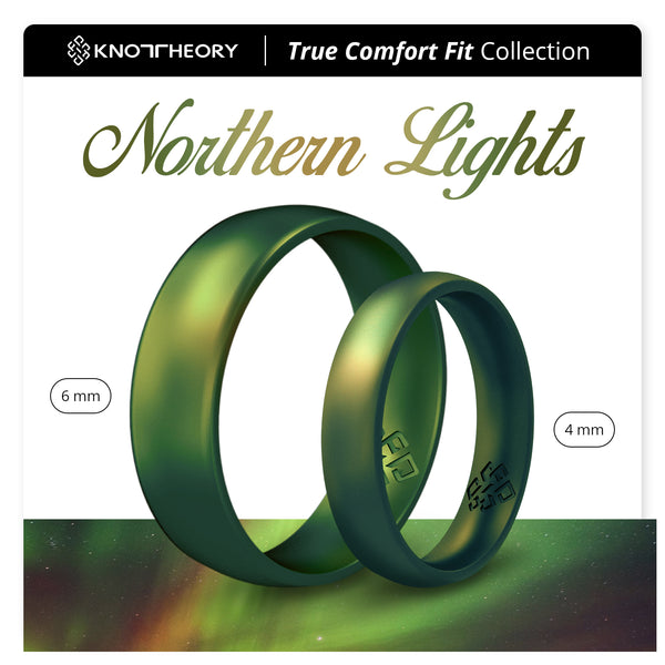 Northern Lights Green Breathable Silicone Ring for Men and Women