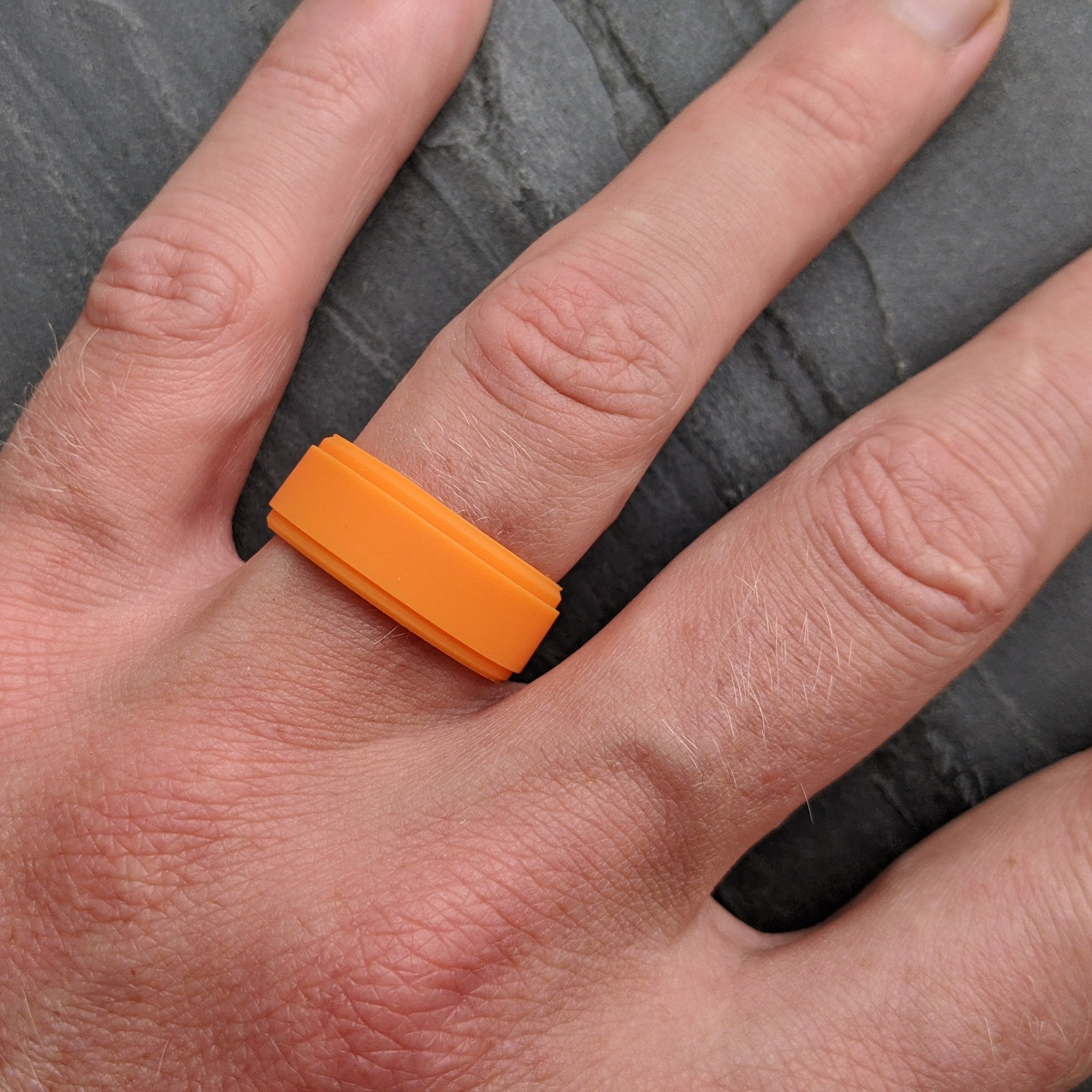 Orange Breathable Silicone Ring in Rise Comfort Fit