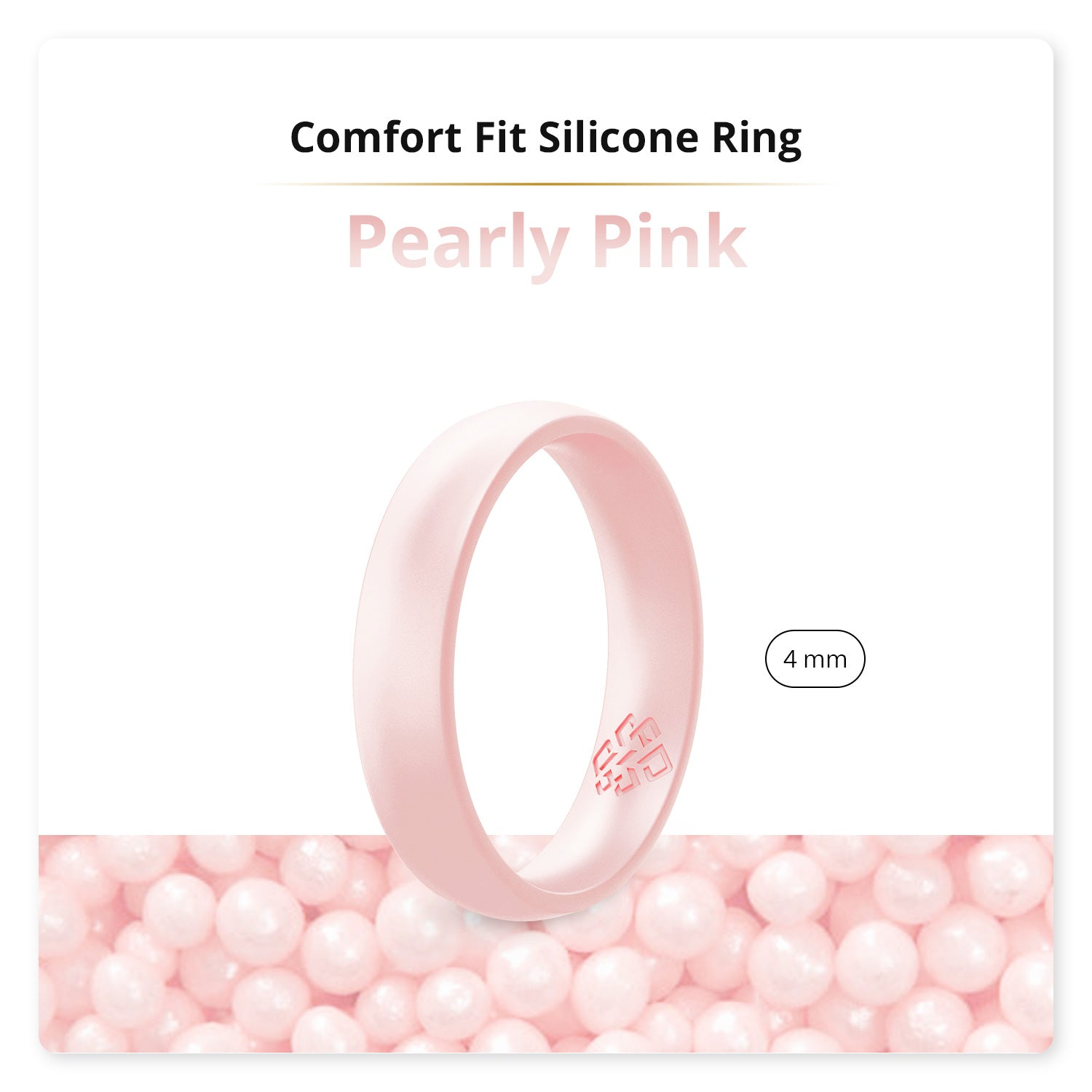 Pearly Pink Domed Comfort Fit Silicone Ring Woman