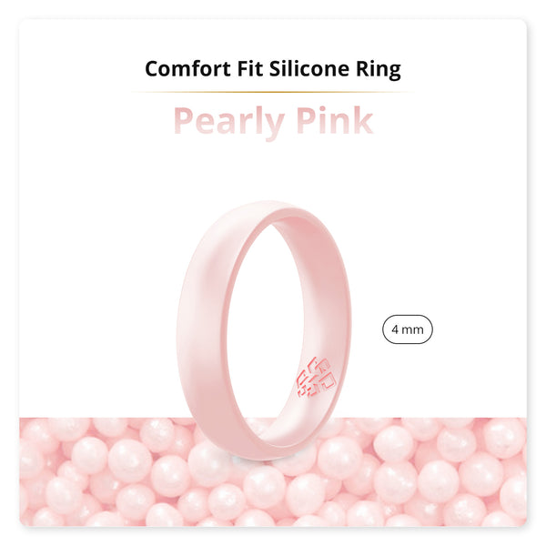 Pearly Pink Comfort Fit Silicone Wedding Ring