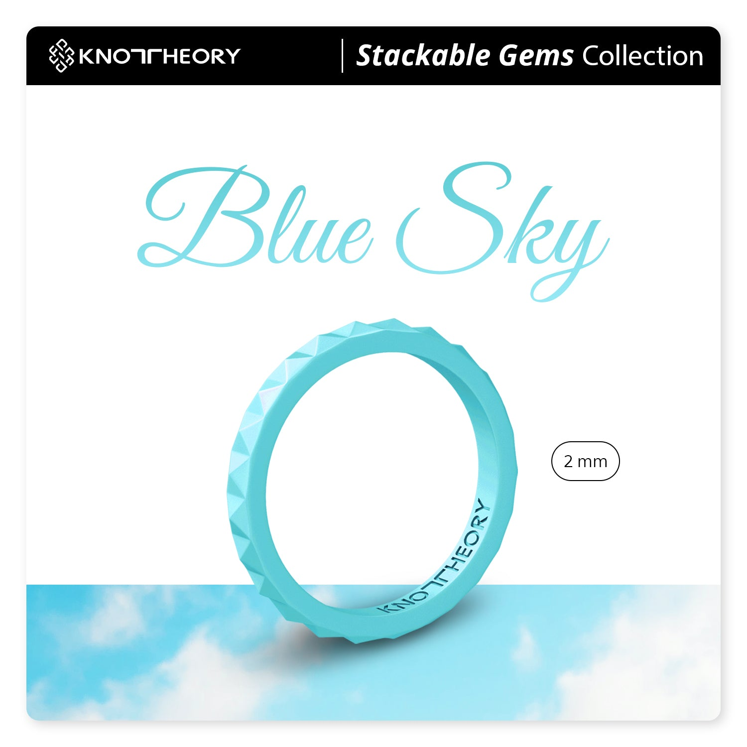 Pearl Baby Blue Pyramid Stackable Slim Thin Silicone Ring for Women