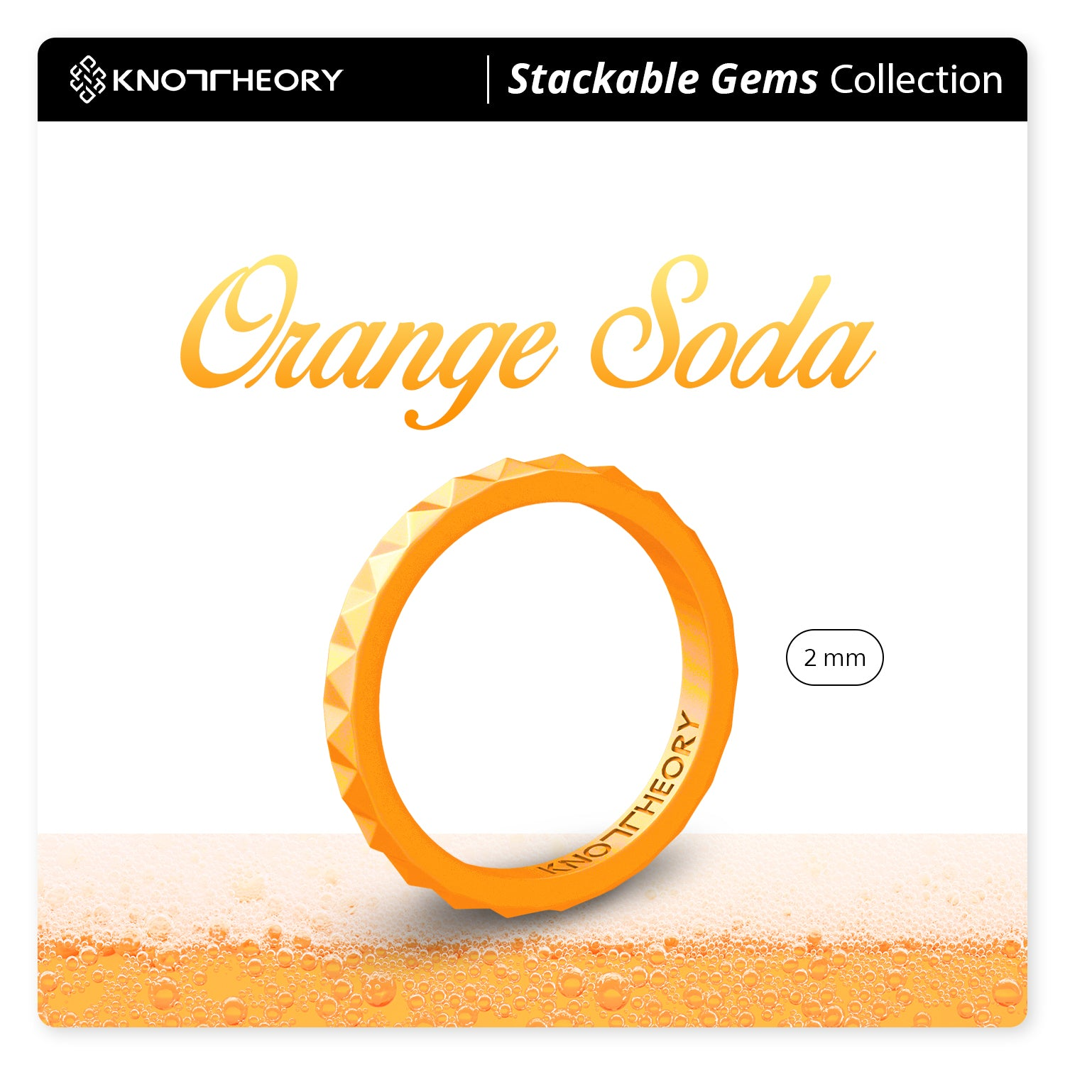 Pearl Orange Pyramid Stackable Slim Thin Silicone Ring for Women