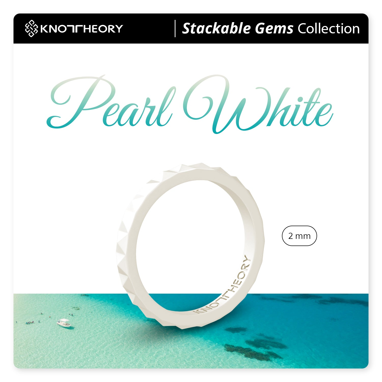 Pearl White Pyramid Stackable Slim Thin Silicone Ring Woman