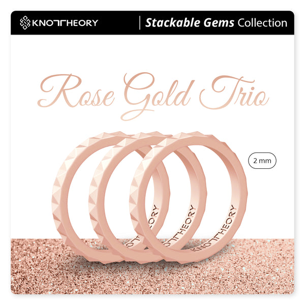Rose Gold Trio Stackable Slim Thin Breathable Silicone Rings 3-Pack for Women