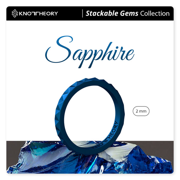 Metallic Blue Sapphire Pyramid Stackable Slim Thin Silicone Ring for Women