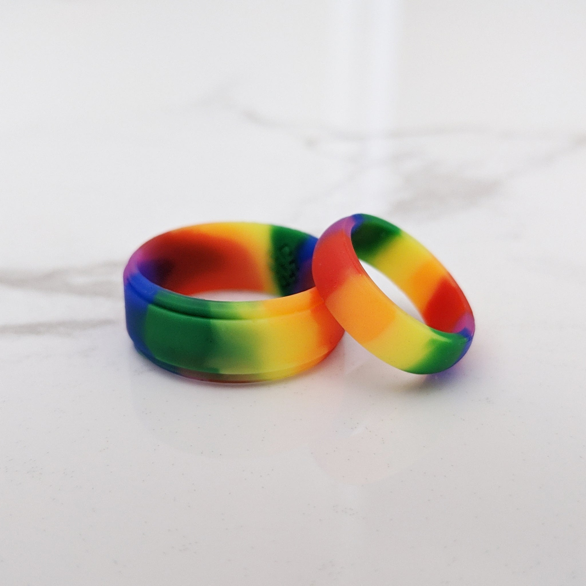 Double Rainbow Breathable Silicone Ring for Men