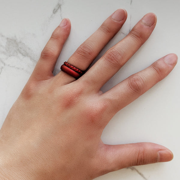 Satin Chrome Red Comfort Fit Silicone Ring Man Woman