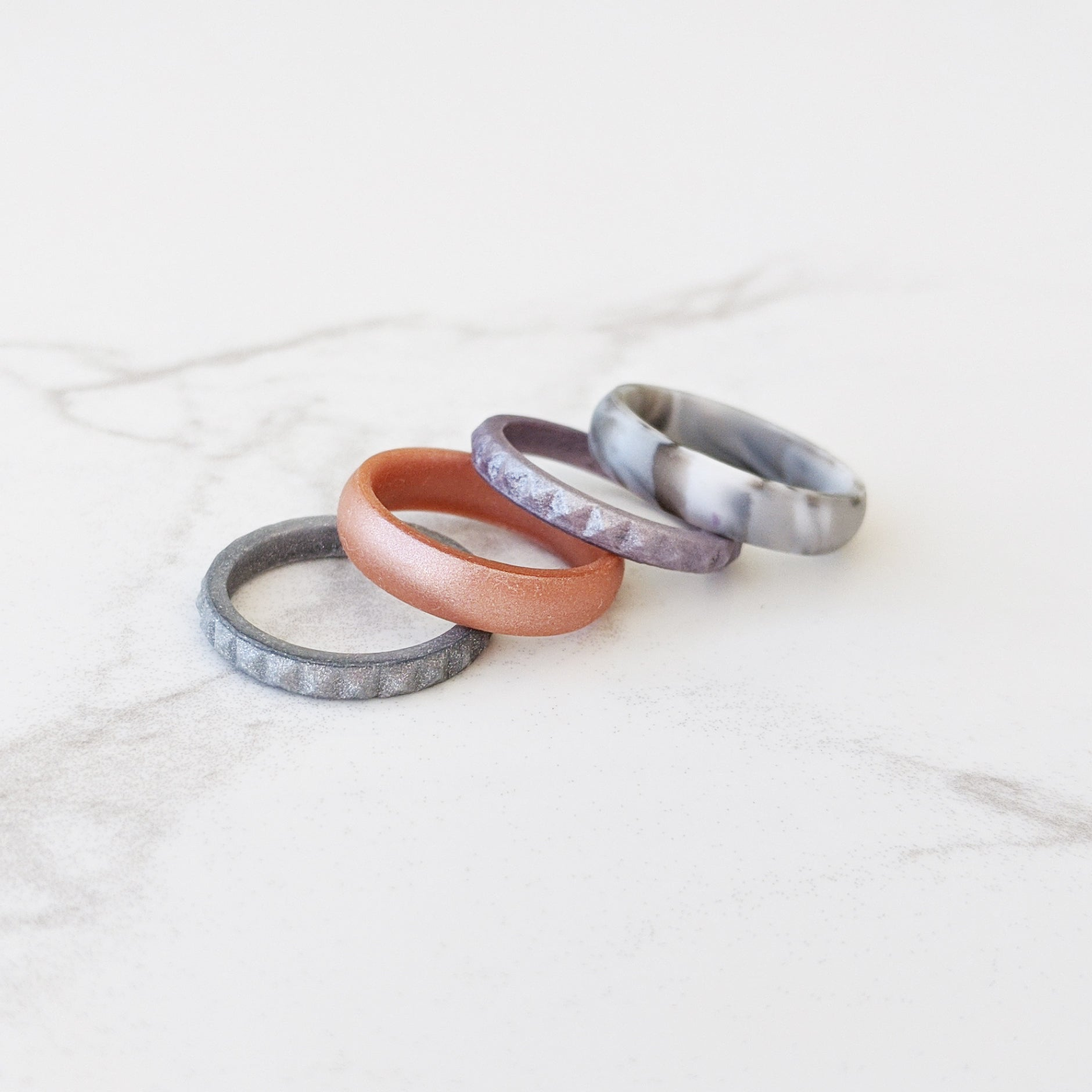 Silver Pyramid Stackable Slim Thin Silicone Ring Woman