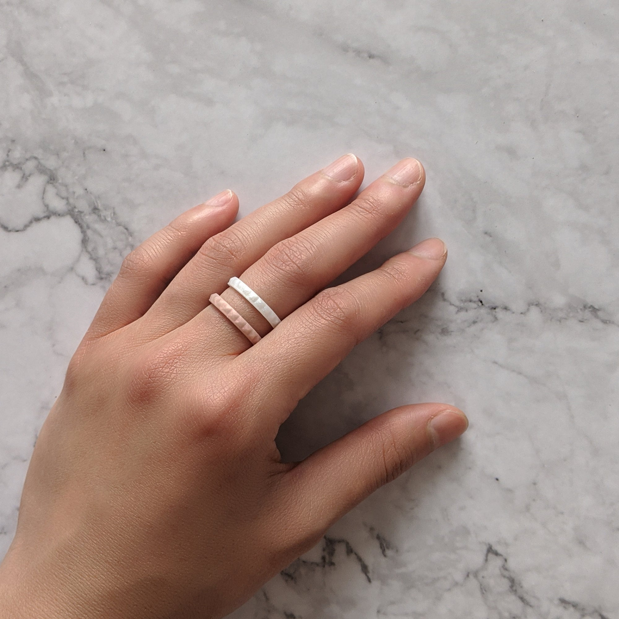 Rose Gold Pyramid Stackable Slim Thin Silicone Ring Woman