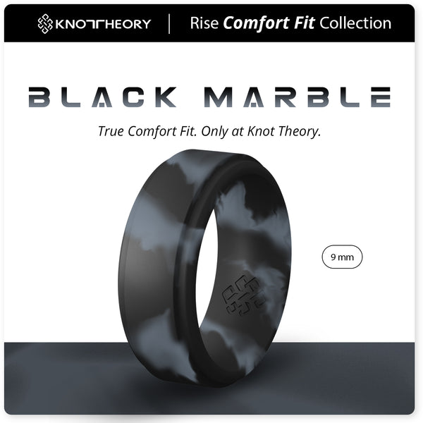 Black Marble Step Edge Breathable Silicone Ring for Men