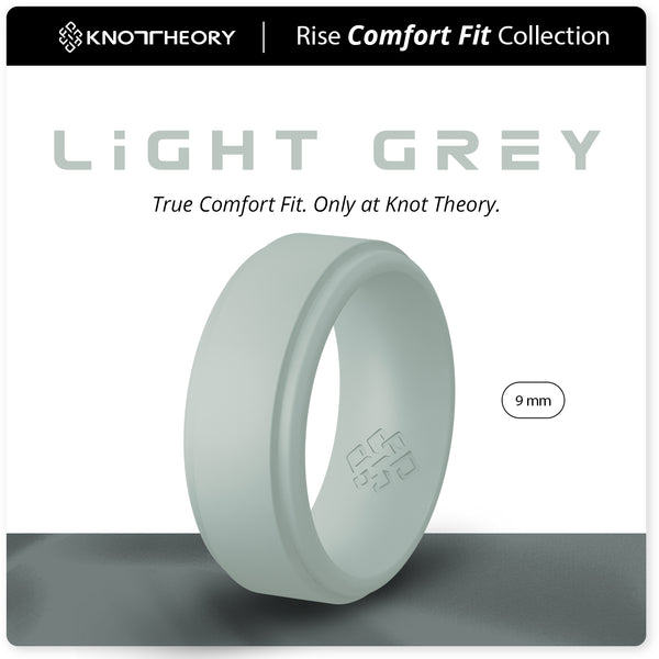Light Grey Step Edge Breathable Silicone Ring for Men