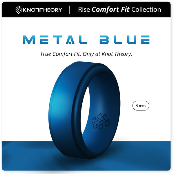 Metal Blue Step Edge Breathable Silicone Ring for Men