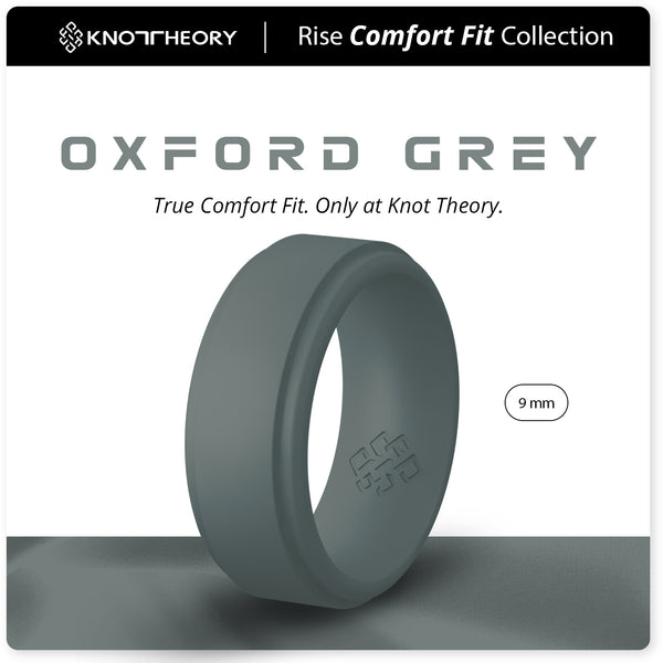 Oxford Grey Step Edge Breathable Silicone Ring for Men