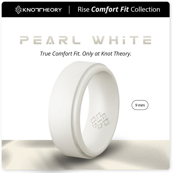 Pearl White Step Edge Breathable Silicone Ring for Men
