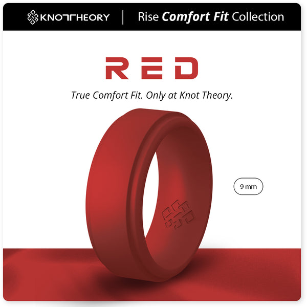 Deep Red Step Edge Breathable Silicone Ring for Men
