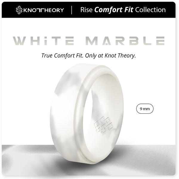White Marble Step Edge Breathable Silicone Ring for Men