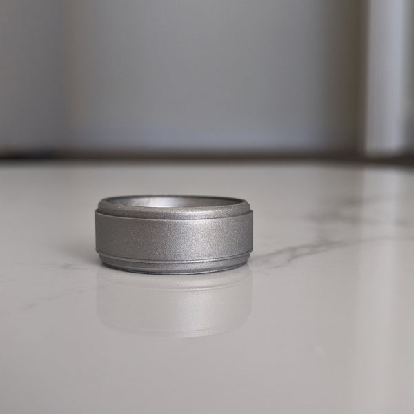 Silver Step Edge Breathable Silicone Ring for Men