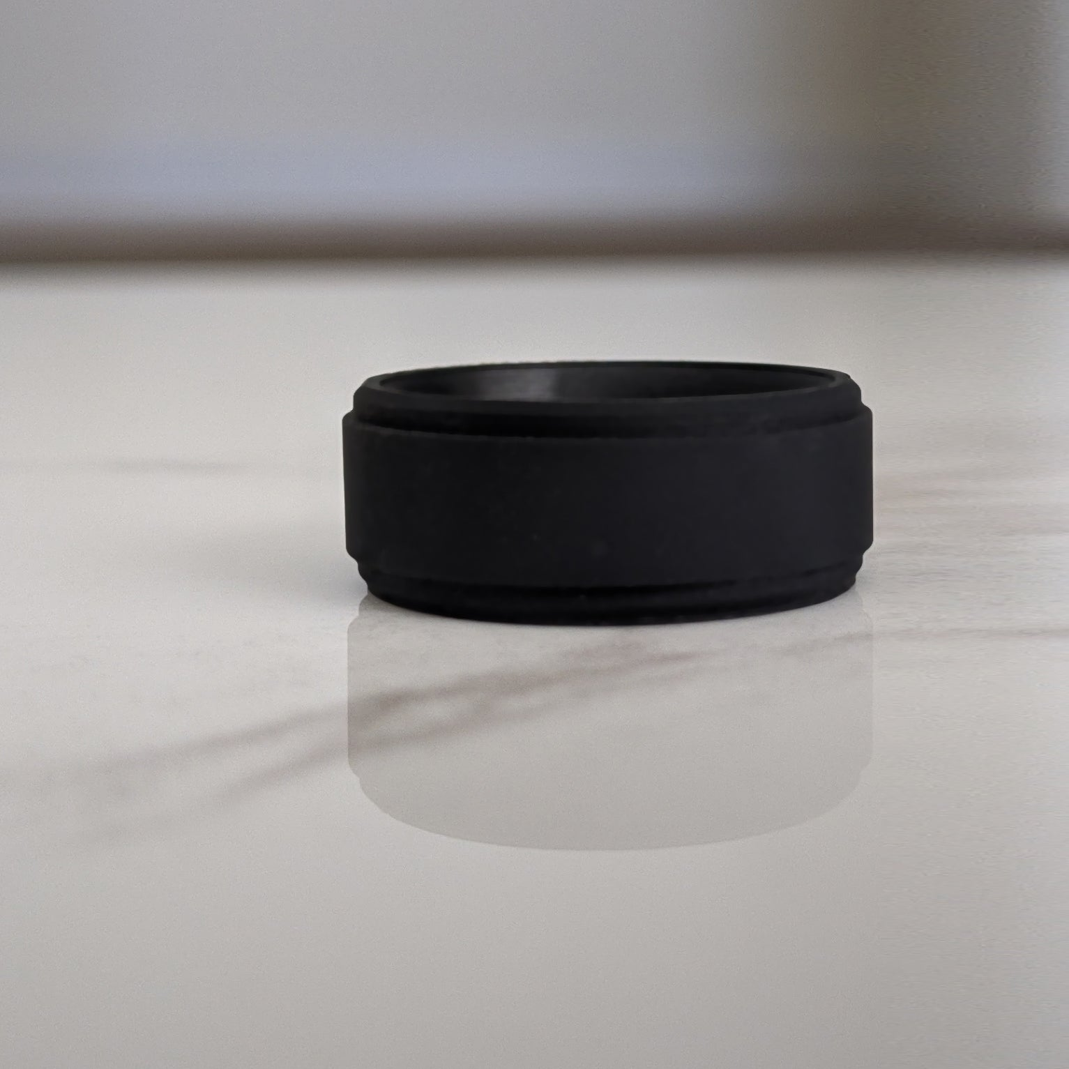 Smooth Black Step Edge Breathable Silicone Ring for Men