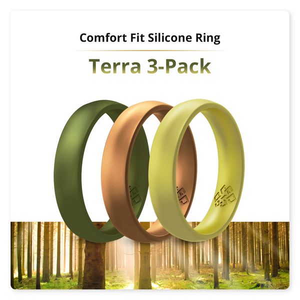 Terra 3-Pack Domed Comfort Fit Silicone Ring Woman