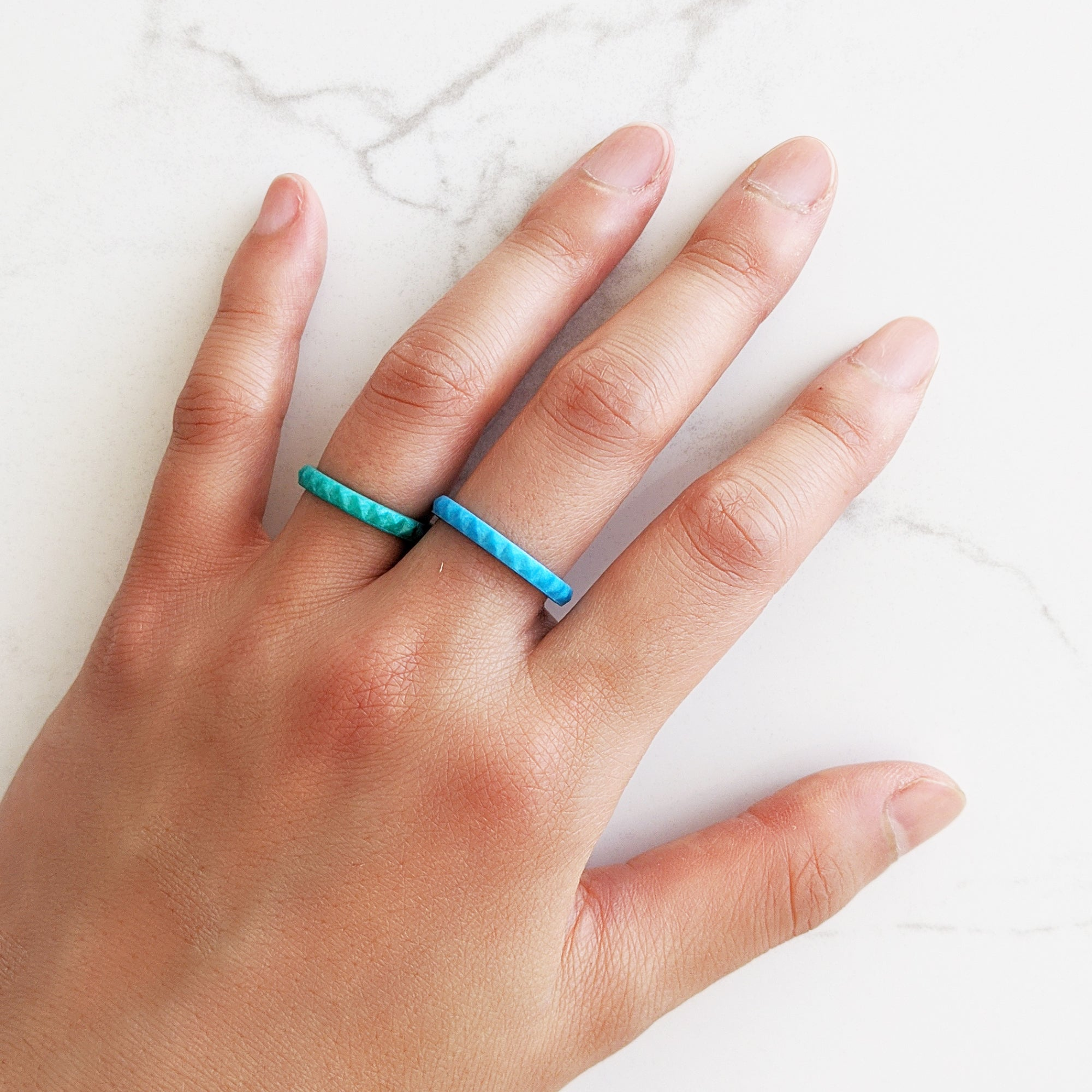 Pearl Turquoise Pyramid Stackable Slim Thin Silicone Ring for Women