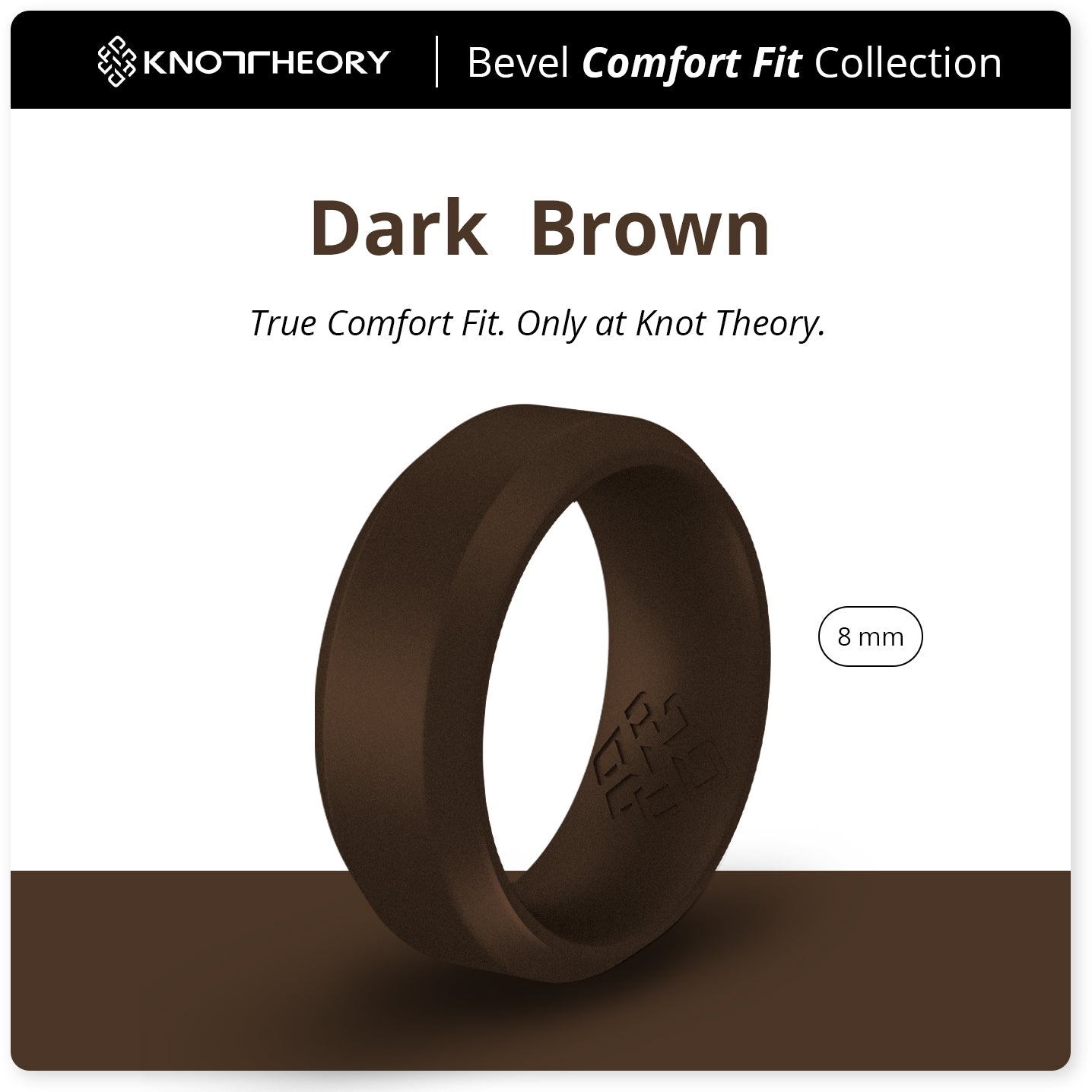 Dark Brown Bevel Edge Breathable Silicone Ring for Men
