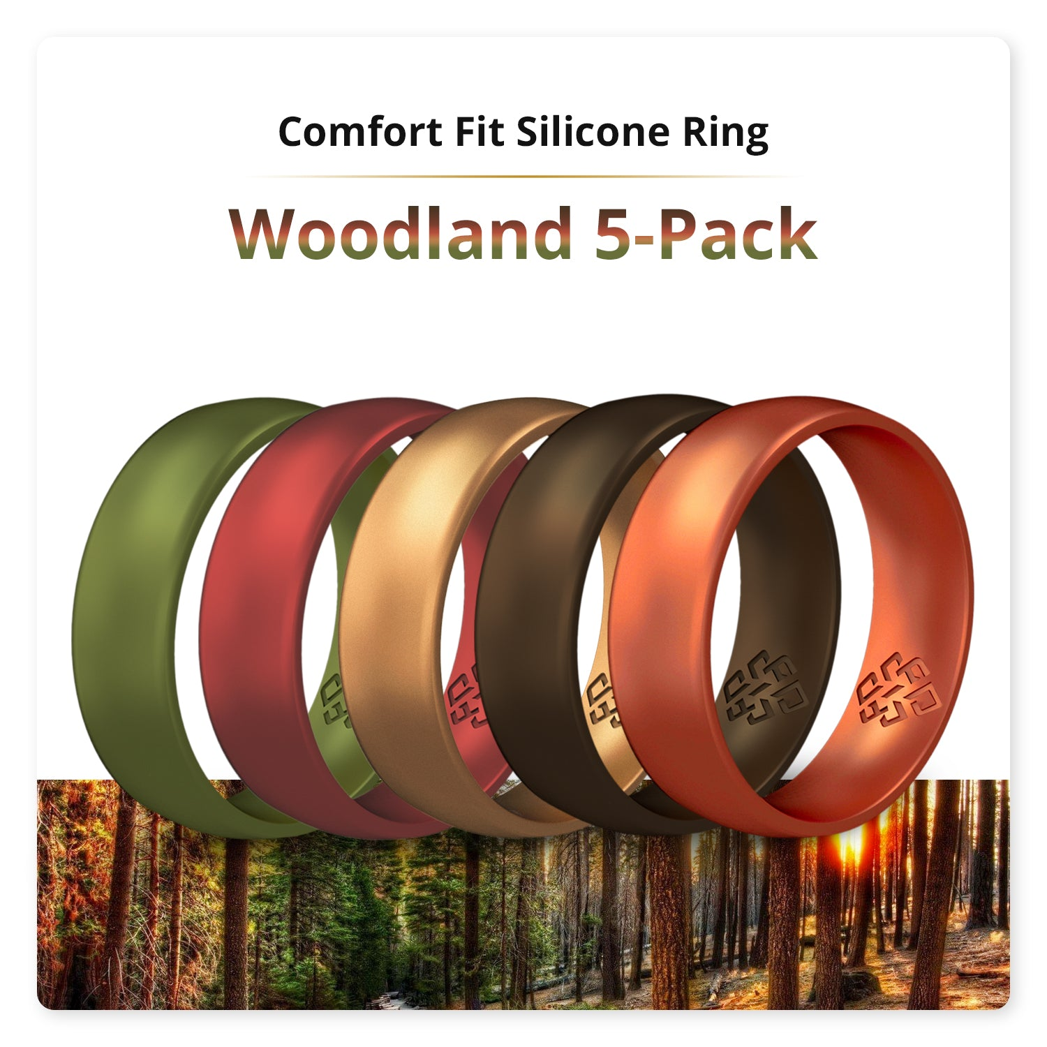 Woodland 5-Pack Domed Comfort Fit Silicone Ring Man