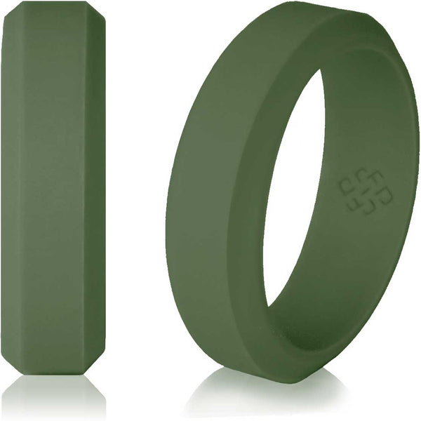 Army Earthy Green Silicone Wedding Ring For Men