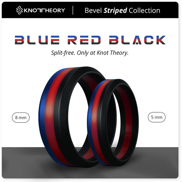 Blue Red Black Striped Silicone Ring Man Woman