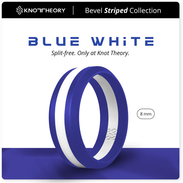 Blue and White Striped Silicone Ring Man