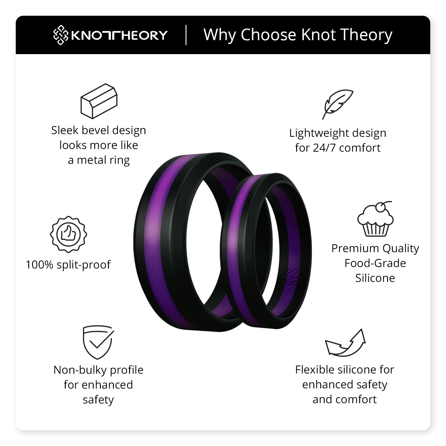 Purple Stripe Silicone Ring for Men and Women