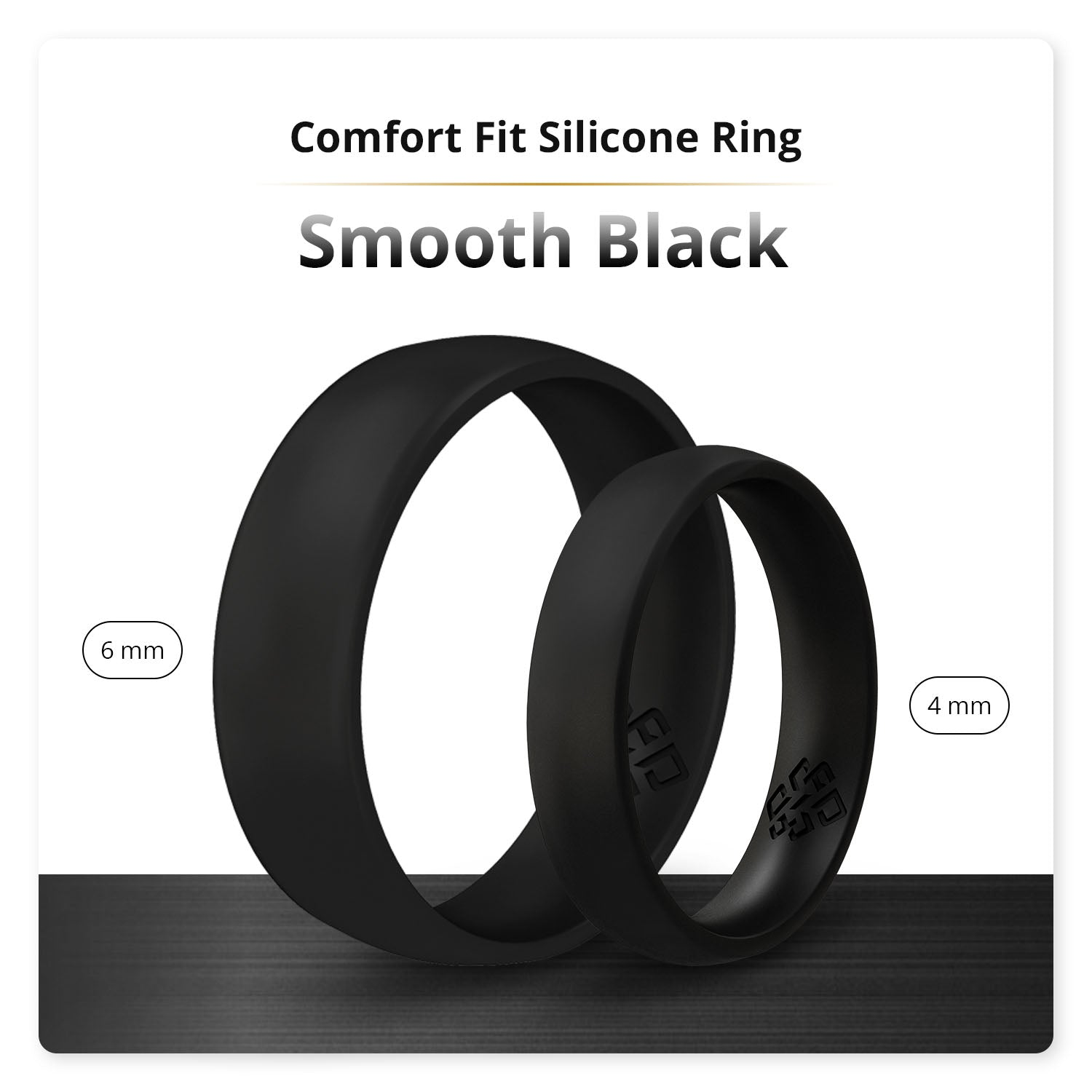 Smooth Black Breathable Silicone Ring For Men and Women