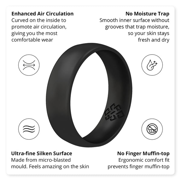 Smooth Black Comfort Fit Silicone Wedding Ring