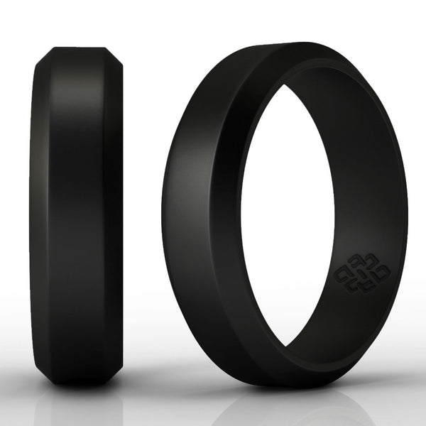 Knot Theory Athletic High Performance Black Silicone Wedding Rings 6mm or 8mm Bandwidth