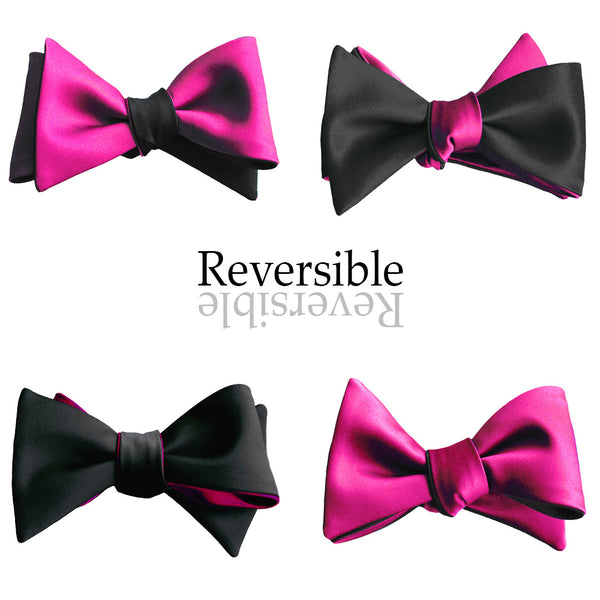 Black & Fuchsia Hot Pink Butterfly Bow Tie