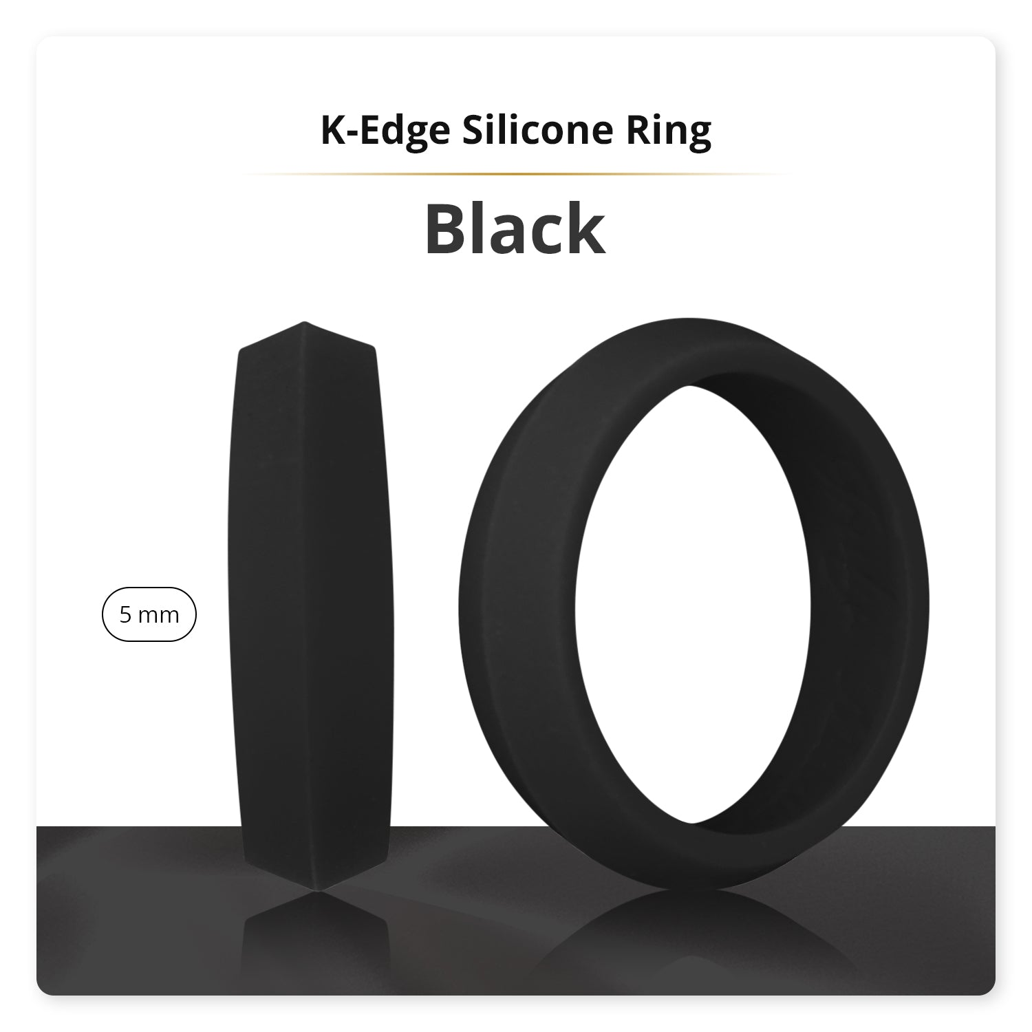Black K-Edge Silicone Ring Woman