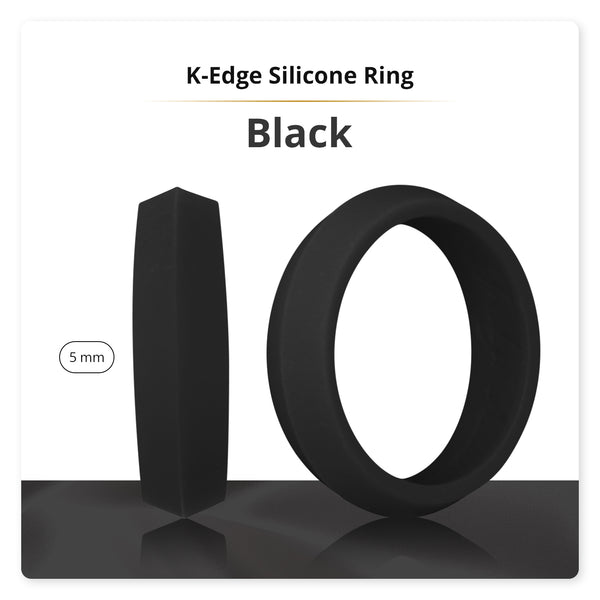 Black K-Edge Silicone Ring For Women
