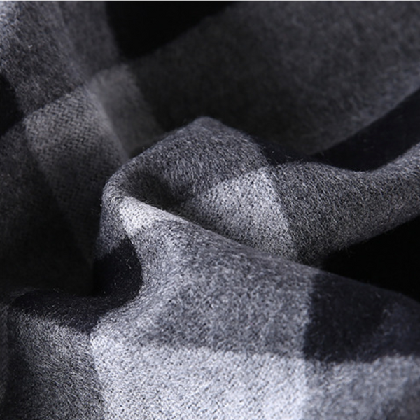 Black Grey Tartan Eco Scarf - Softer than Cashmere 100% Silk