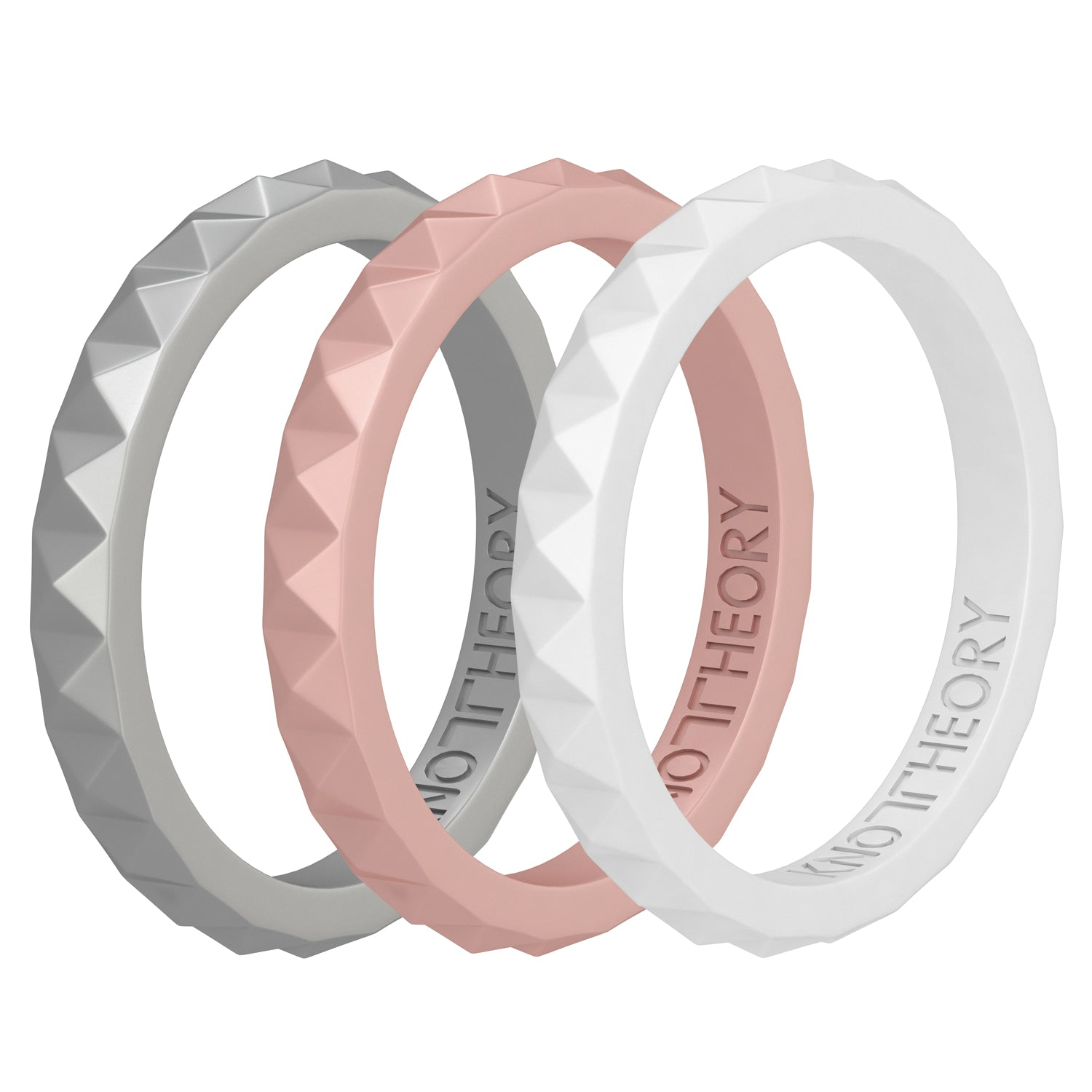 Bliss Stackable Silicone Wedding Rings for Women - 3-Pack in Rose Gold, Silver, Pearl White