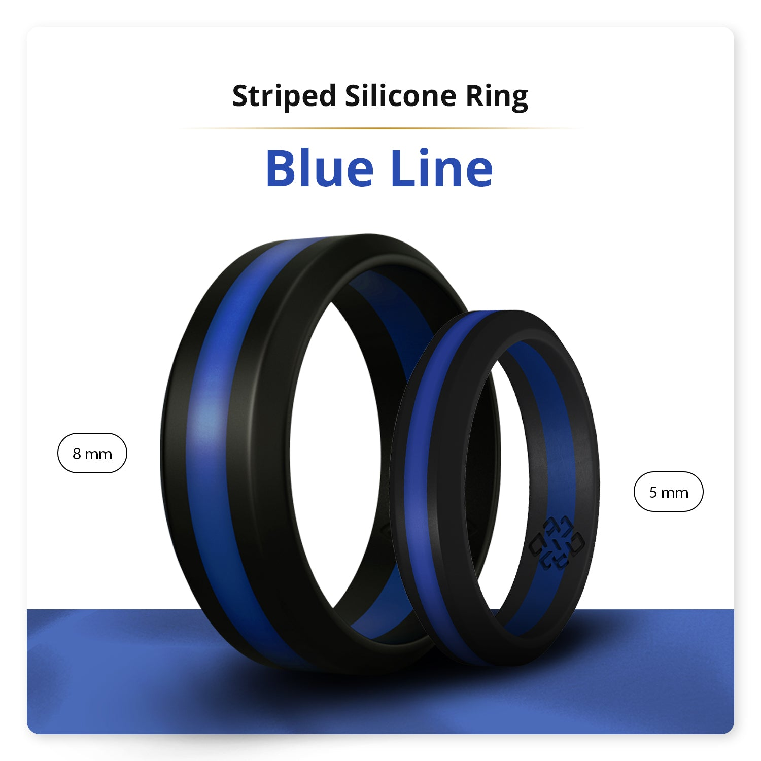 Thin Blue Line Striped Silicone Ring Man