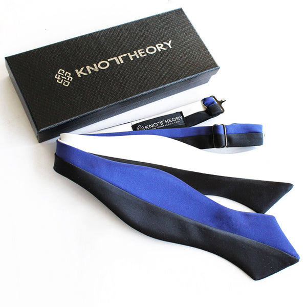Black White Blue Diamond Point Bow Tie