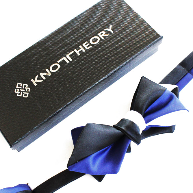 Black, White, and Blue 4-way Diamond Point Self-tying Bow Tie