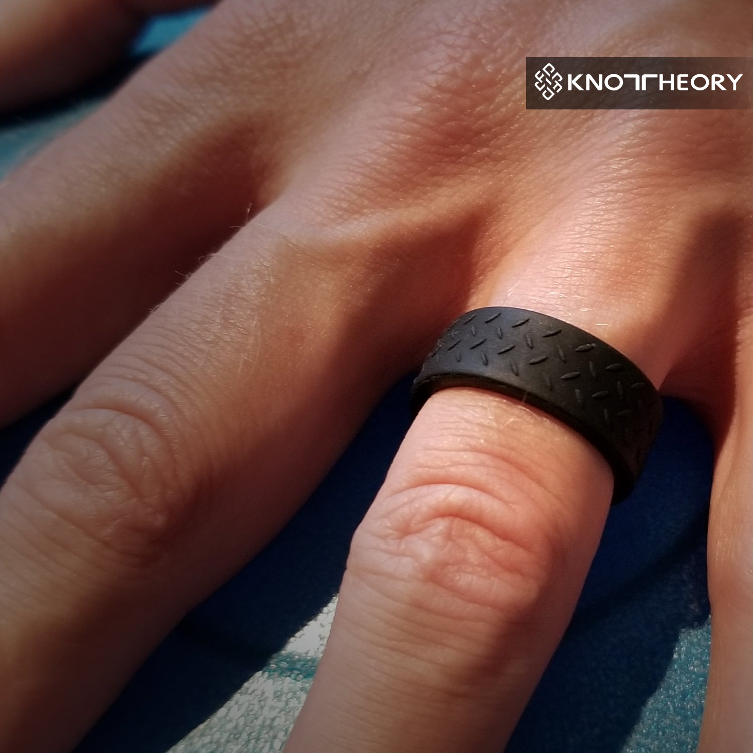 Checkerplate Black Silicone Rings