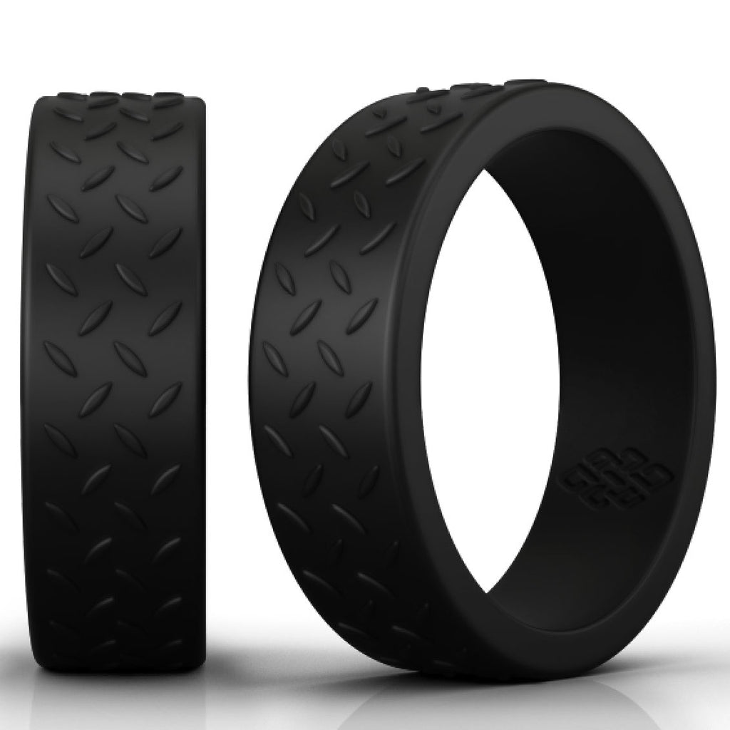Checkerplate Heavy Duty Black Silicone Rings
